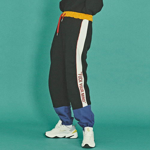SWEAT COLOR BLOCK JOGGER PANTS [BLACK]