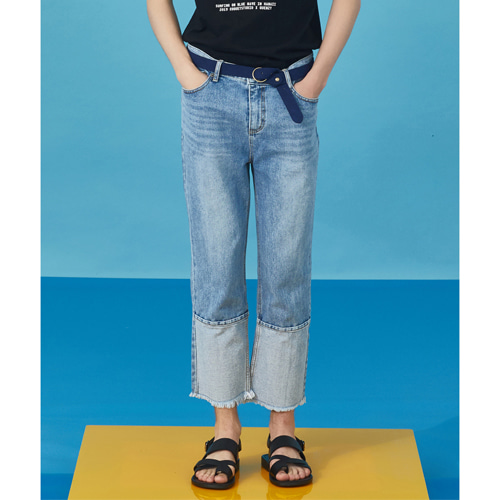 [ C.Q X QUENZY ] STONE WASHING CUTTING JEANS [ LIGHT DENIM ]