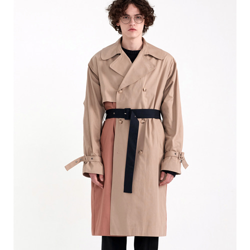 [PREMIUM] COLOR BLOCKING MILITARY TRENCH [OVER FIT] BE