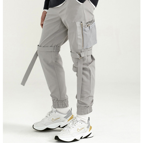 [PREMIUM] MA-1 POCKET DETAIL JOGGER PANTS LIGHT GRAY